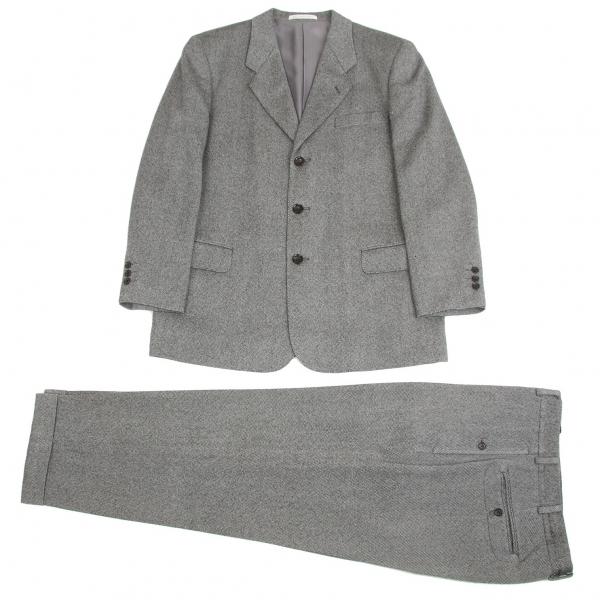 パパスPapas ウールバーズアイセットアップスーツ 黒グレーS/M【中古】【メンズ】