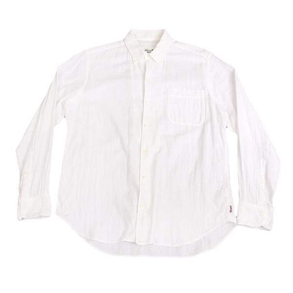 パパスプラスPapas+ コットンガーゼボタンダウンシャツ 白M【中古】【メンズ】