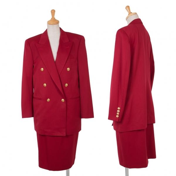 アクアスキュータムAquascutum 装飾ボタンウールギャバダブルブレストセットアップスーツ 赤9・11【中古】