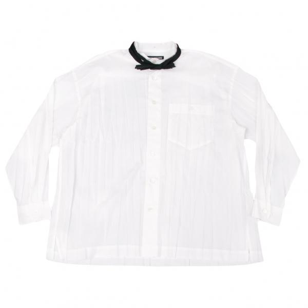 イッセイミヤケ メンISSEY MIYAKE MEN タイ付きシワ加工バンドカラーシャツ 白1【中古】 【メンズ】
