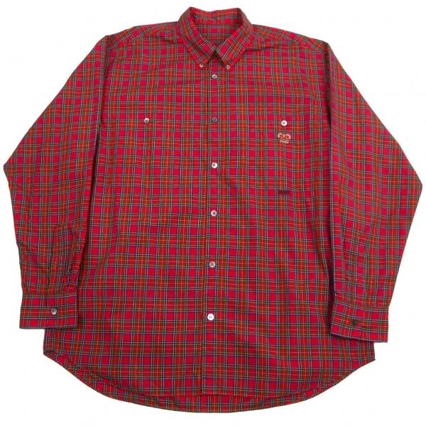 パパスPapas コットンタータンチェックボタンダウンシャツ 赤青50L【中古】【メンズ】