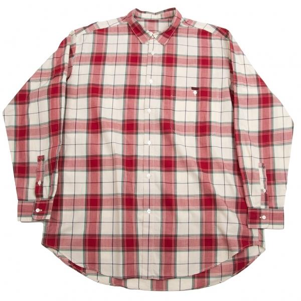 パパスPapas コットンオーバーチェックシャツ ベージュ赤L【中古】【メンズ】