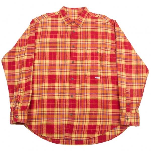 パパスPapas コットンチェックネルシャツ 赤黄L【中古】【メンズ】