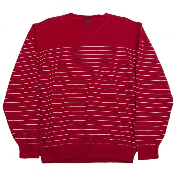 パパスPapas ロゴワンポイント刺繍細ボーダーニットセーター 赤白M【中古】【メンズ】