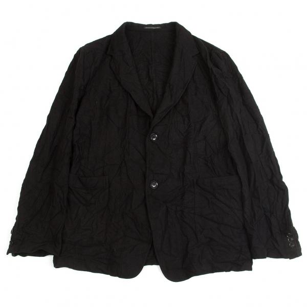 ヨウジヤマモト プールオムYohji Yamamoto POUR HOMME 混紡ウール起毛シワ加工ジャケット 黒4【中古】【メンズ】