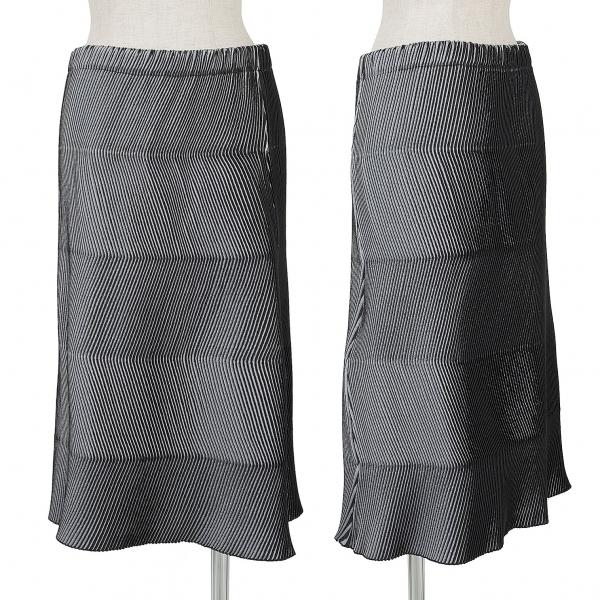 イッセイミヤケISSEY MIYAKE ジグザグプリーツAラインスカート 黒グレーM位【中古】【レディース】