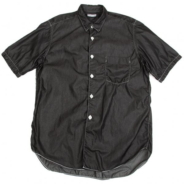 コムデギャルソン オムCOMME des GARCONS HOMME コットンポリ製品染め半袖シャツ 黒M位【中古】【メンズ】