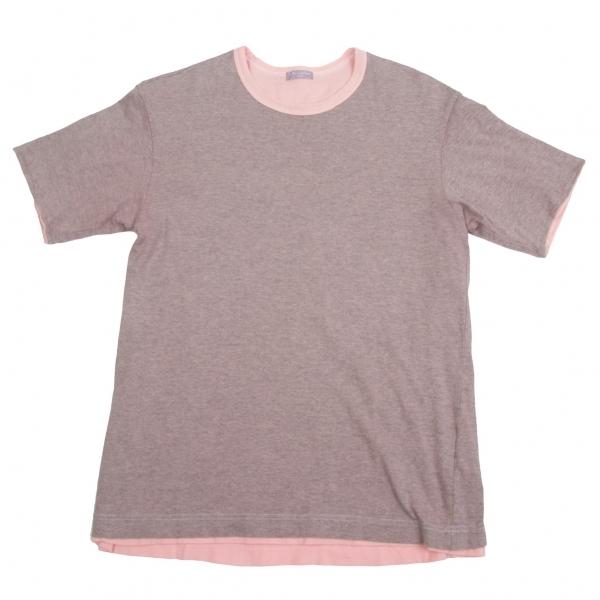 コムデギャルソン オムCOMME des GARCONS HOMME リバーシブルレイヤード製品染めTシャツ グレーピンクM位【中古】【メンズ】
