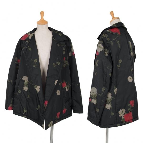 ワイズY's ナイロン中綿フラワープリントボタンレスジャケット 黒赤他3【中古】 【レディース】