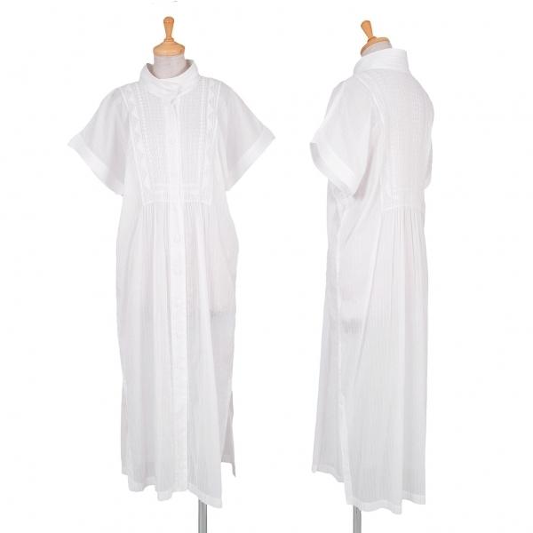 プリーツプリーズPLEATS PLEASE シースルー刺繍シャツワンピース 白3【中古】【レディース】