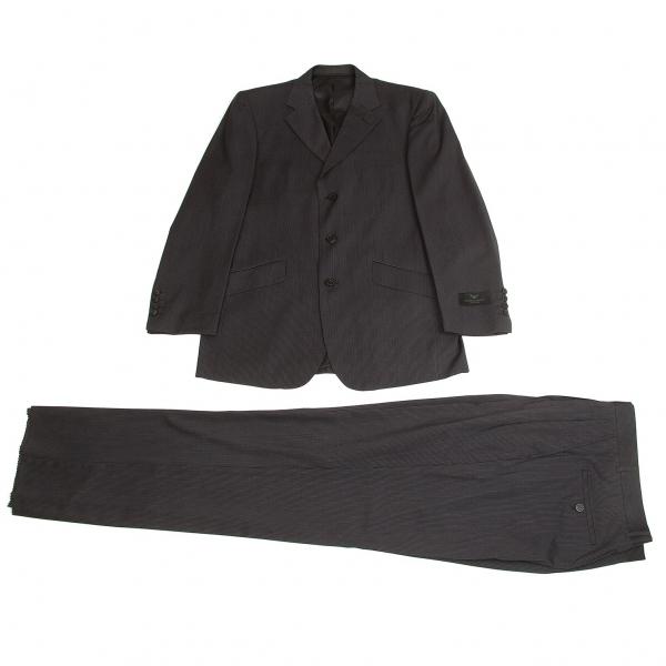 ジョルジオ アルマーニGIORGIO ARMANI ウールシルクストライプセットアップスーツ 紺グレー48/32【中古】【メンズ】