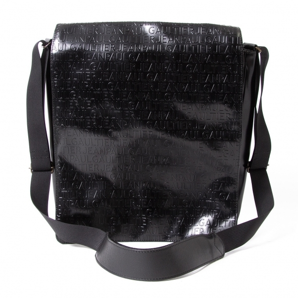 ジャンポールゴルチエJean Paul GAULTIER ロゴ型押しフラップショルダーバッグ 黒【中古】 【メンズ】