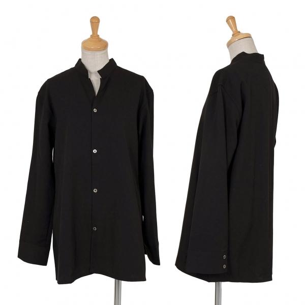 新品!ワイズY's ウールギャババンドカラーシャツ 黒3【レディース】