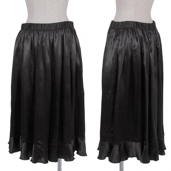 ブラック コムデギャルソンBLACK COMME des GARCONS 裾切替キュプラフレアースカート 黒S【中古】【レディース】