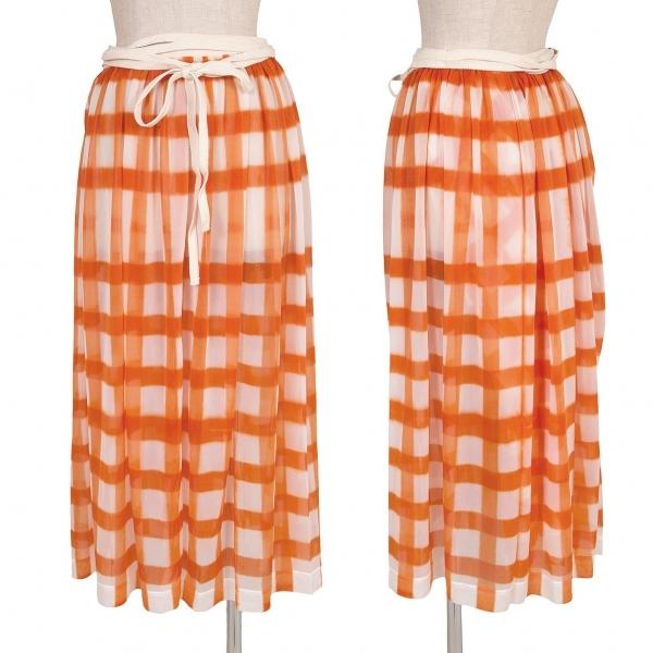 ワイズY's 格子柄シースルーラップスカート オレンジオフ2【中古】 【レディース】