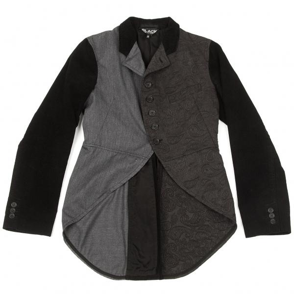 ブラック コムデギャルソンBLACK COMME des GARCONS クレイジーパターンスワローテールジャケット 黒グレーS【中古】 【メンズ】