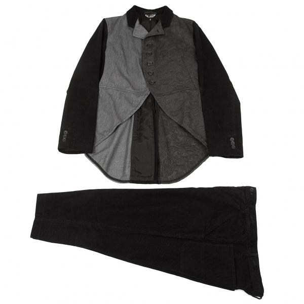 ブラック コムデギャルソンBLACK COMME des GARCONS クレイジーパターンスワローテールセットアップ 黒グレーS/XS【中古】 【メンズ】
