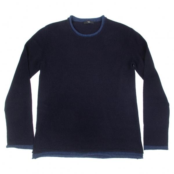 ワイズフォーメンY's for men ネック裾レイヤードデザインウールセーター 紺青2【中古】 【メンズ】