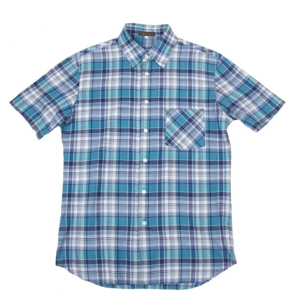 ワイズフォーメンY's for men マドラスチェック半袖シャツ 青3【中古】 【メンズ】