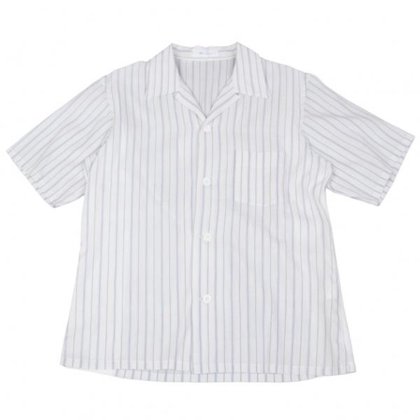 ワイズフォーメンY's for men サイド切替ストライプ半袖シャツ 白青3【中古】 【メンズ】