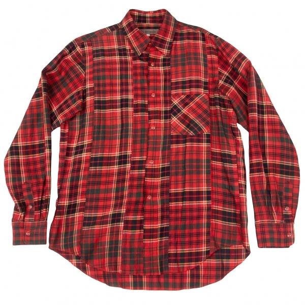 ワイズフォーメンY's for men タータンチェックリネンレーヨンシャツ 赤3【中古】 【メンズ】