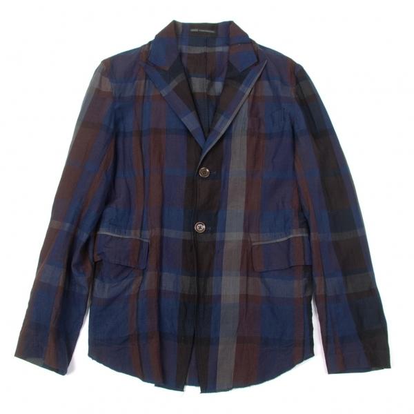 ワイズフォーメンY's for men リネンコットンチェックシャツジャケット 紺茶3【中古】 【メンズ】