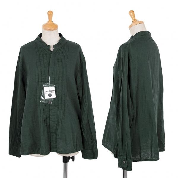 プランテーションPlantation 製品染めフロントータックデザインシャツ 深緑M【中古】 【レディース】