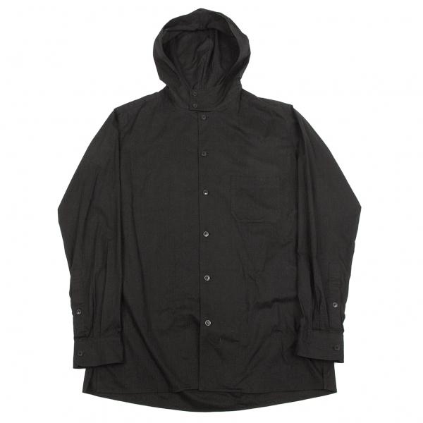 ヨウジヤマモト プールオムYohji Yamamoto POUR HOMME コットンフード付き長袖シャツ 黒3【中古】 【メンズ】