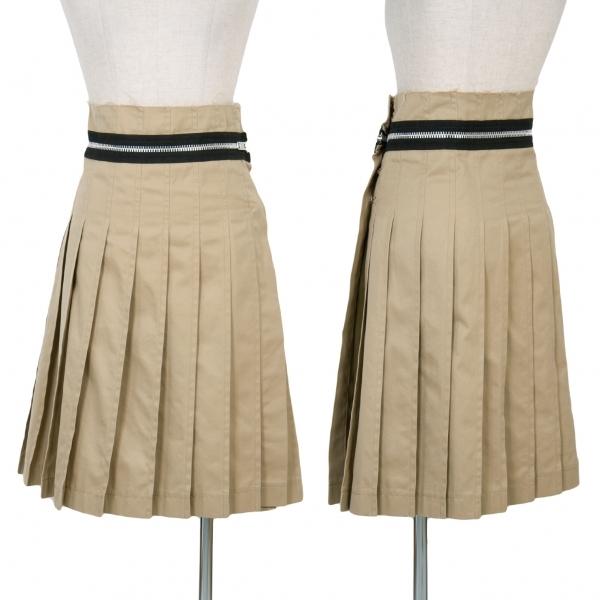 トリコ コムデギャルソンtricot COMME des GARCONS ジップデザインプリーツラップスカート 濃ベージュM【中古】 【レディース】