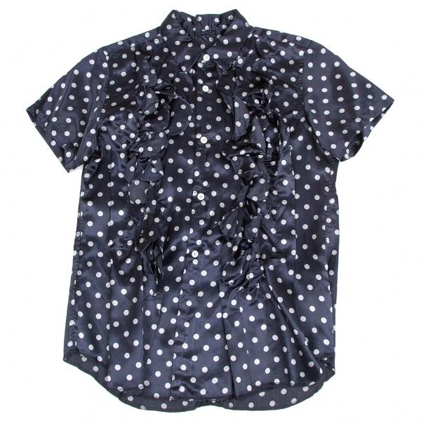 コムデギャルソンCOMME des GARCONS 製品染めドットフリルカットポリ半袖シャツ 紺M位レディースTJ1FKcl