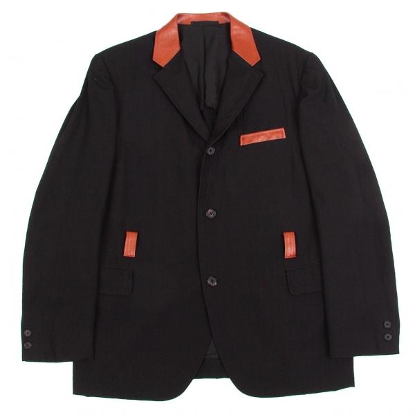 ワイズフォーメンY's for men 赤ラベル レザー使いウールギャバベンチレーションジャケット 黒3【中古】 【メンズ】