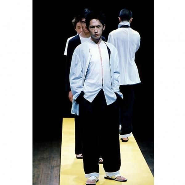 ヨウジヤマモト プールオムYohji Yamamoto POUR HOMME リネン紐ウエストワイドパンツ 黒3【中古】 【メンズ】