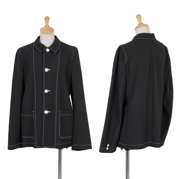 トリコ コムデギャルソンtricot COMME des GARCONS ウールステッチシャツジャケット 黒M位【中古】 【レディース】