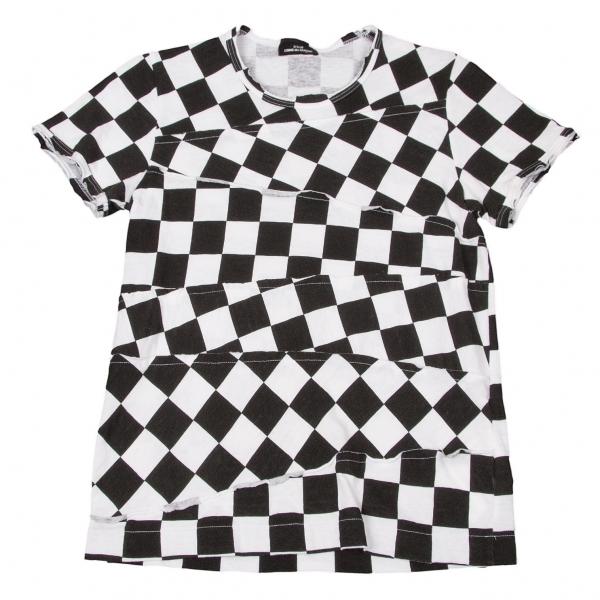 トリコ コムデギャルソンtricot COMME des GARCONS 市松柄切り替えTシャツ 黒白M位【中古】 【レディース】