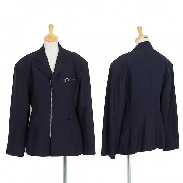 ワイズY's ウールジップデザインジャケット 濃紺M位【中古】 【レディース】