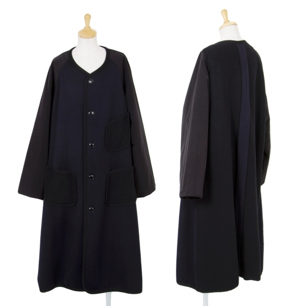 ワイズY's シンサレート切替ノーカラーニットコート 紺黒2【中古】 【レディース】