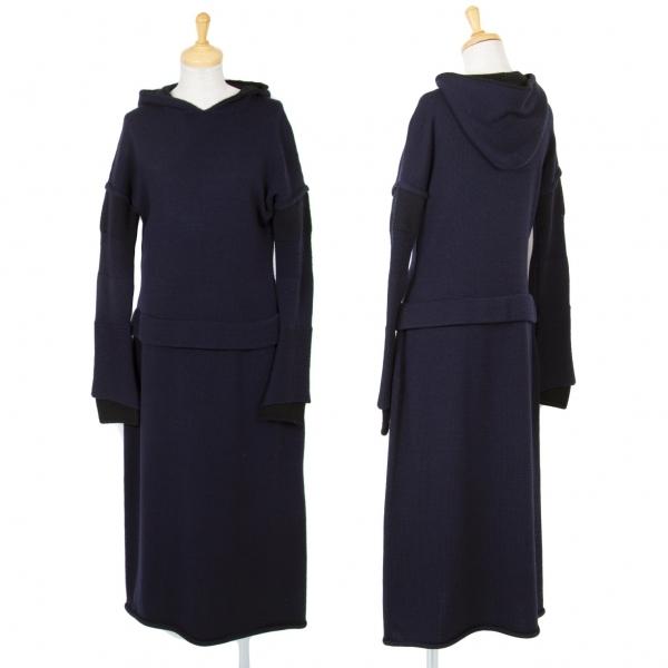 ワイズY's ウールニット袖レイヤードデザインフーデッドワンピース 紺2【中古】 【レディース】