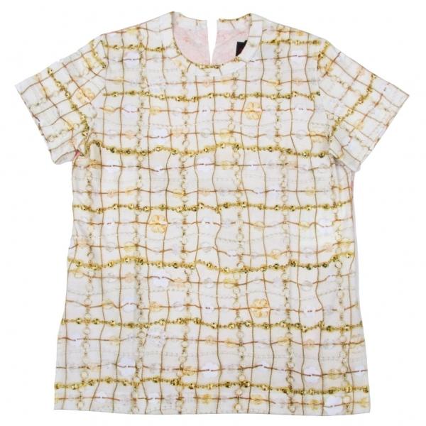 新品!トリコ コムデギャルソンtricot COMME des GARCONS ボタン柄プリントバック切替Tシャツ 黄ピンクS 【レディース】