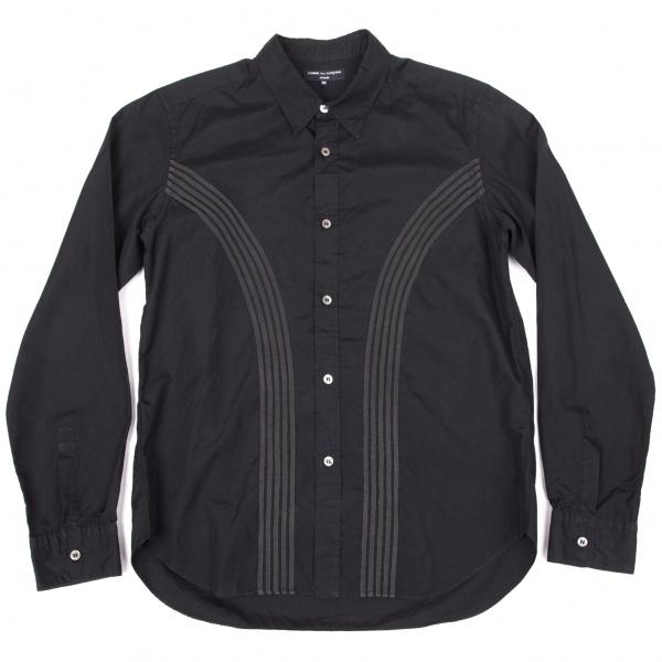 コムデギャルソン オムCOMME des GARCONS HOMME 製品洗いカーブテープ装飾長袖シャツ 黒M【中古】 【メンズ】