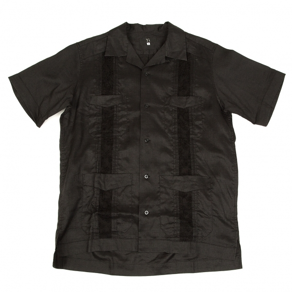 ワイズフォーメンY's for men リネンラミーピンタック切替オープンカラーシャツ 黒3【中古】 【メンズ】
