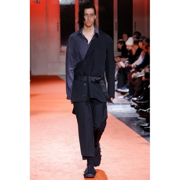 ヨウジヤマモト プールオムYohji Yamamoto POUR HOMME ウールギャバベルテッドアシンメトリージャケットドレス 黒2【中古】 【メンズ】