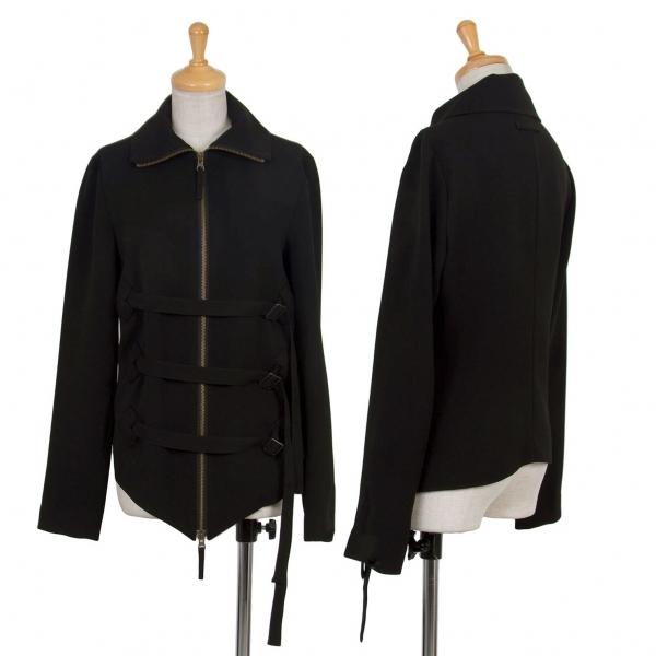 ジャンポールゴルチエ ファムJean Paul GAULTIER FEMME ベルトデザインハイネックストライプジップジャケット 黒40【中古】 【レディース】