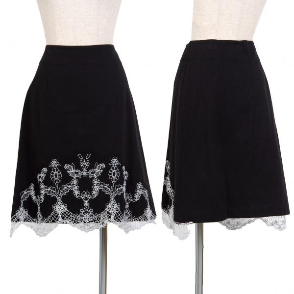トリコ コムデギャルソンtricot COMME des GARCONS 銀糸刺繍コットンスカート 黒M【中古】 【レディース】