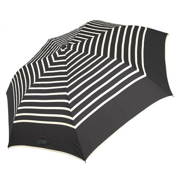 ジャンポールゴルチエJean Paul GAULTIER マリンボーダー折りたたみ傘 黒ベージュ【中古】 【レディース】
