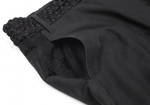 アンドゥムルメステールANN DEMEULEMEESTER 刺繍切替デザインコットンシルクパンツ 黒38レディース54LRAcq3j