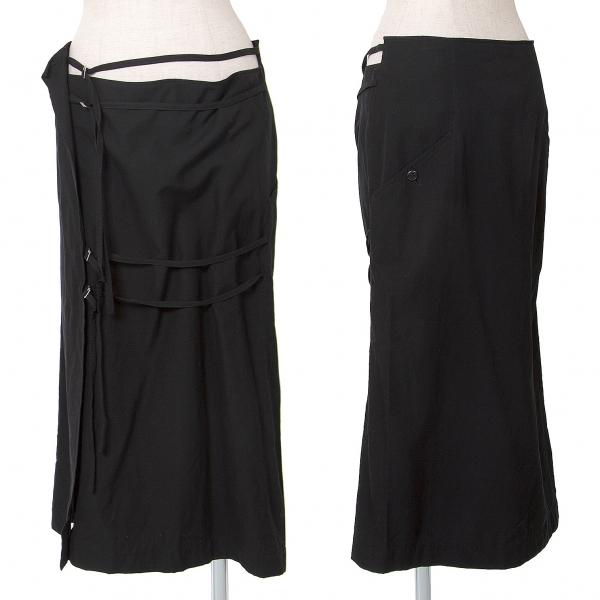 ワイズ レッドレーベルY's red Label ドローコードラップデザインスカート 黒3【中古】 【レディース】