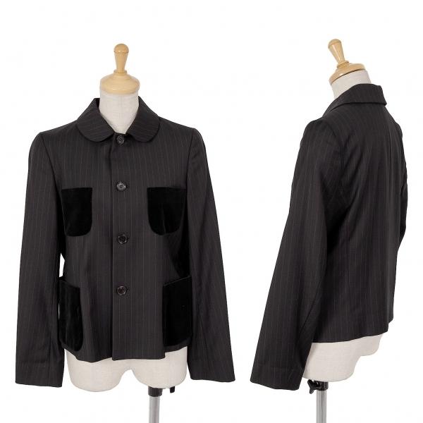 コムコム コムデギャルソンCOMME des GARCONS ポケットパッチストライプ4Bジャケット 黒XS【中古】 【レディース】