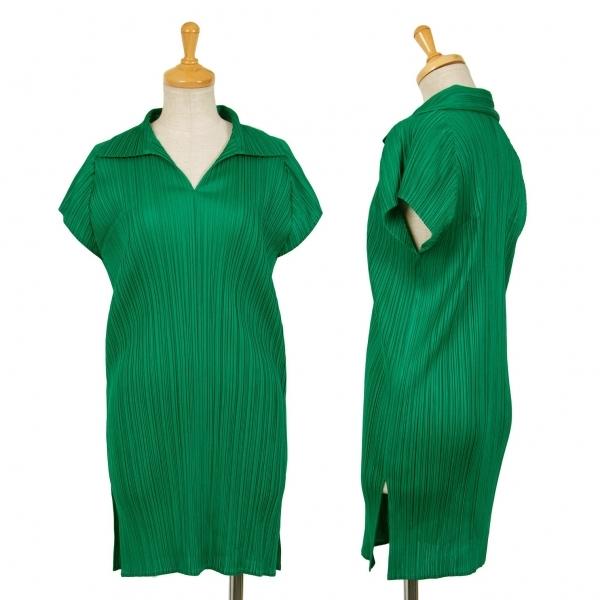 プリーツプリーズPLEATS PLEASE 衿付フレンチスリーブチュニック 緑L位【中古】 【レディース】