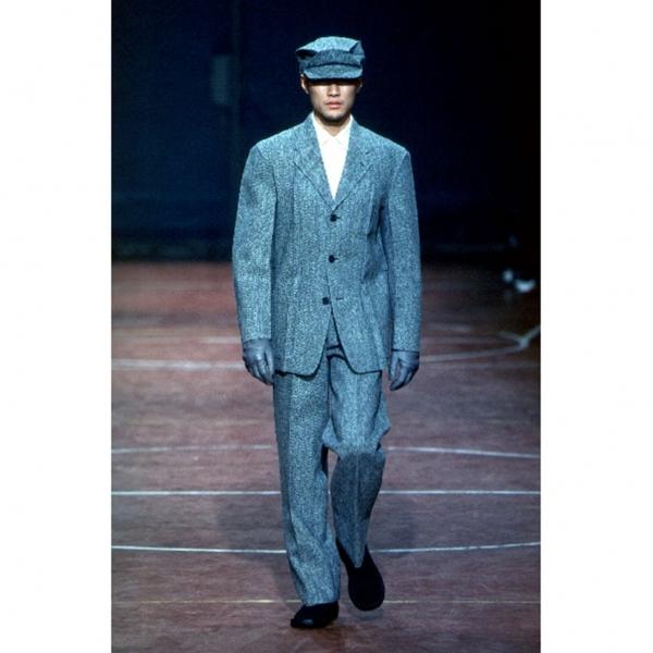 イッセイミヤケ メンISSEY MIYAKE MEN サイドプリーツデザインツィードパンツ 紺XL【中古】 【メンズ】