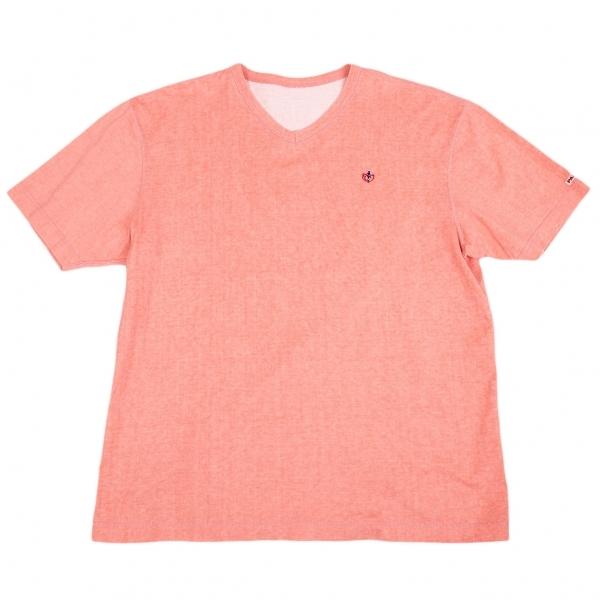 パパスPapas ワンポイント刺繍Vネック顔料染めTシャツ ピンクLL【中古】 【メンズ】